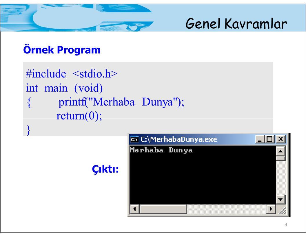 4 Genel Kavramlar Örnek Program #include int main (void) { printf( Merhaba Dunya ); return(0); } Çıktı: