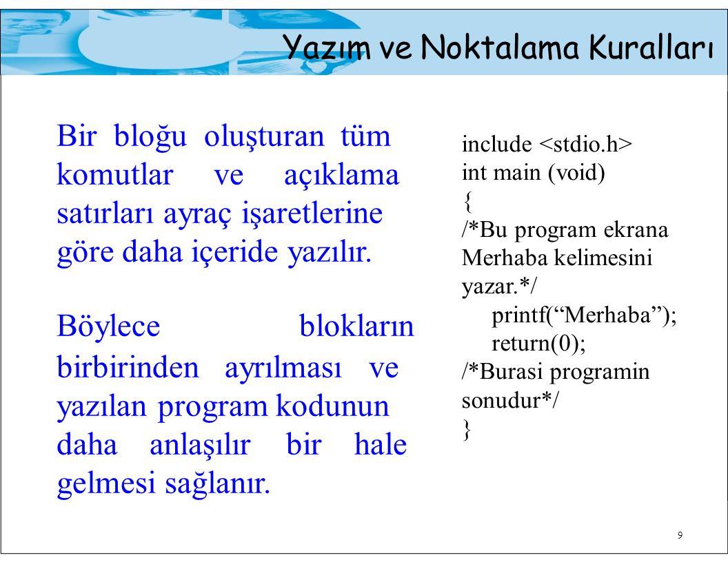 Yazım ve Noktalama Kuralları 9 Bir bloğu oluşturan tüm komutlar ve açıklama satırları ayraç işaretlerine göre daha içeride yazılır.