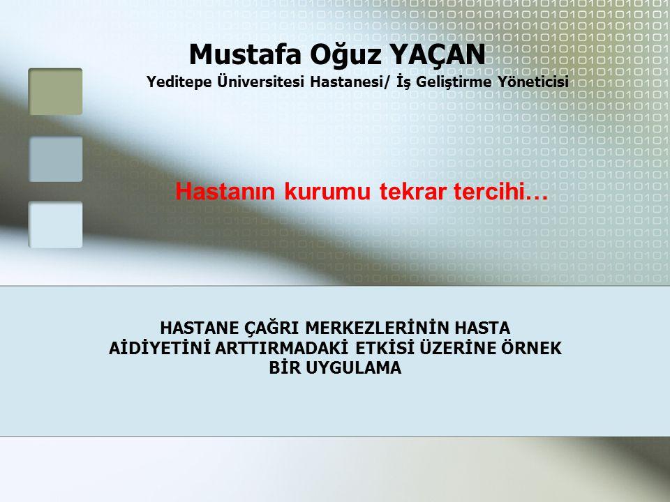 Yeditepe Üniversitesi Hastanesi/ İş Geliştirme Yöneticisi HASTANE ÇAĞRI MERKEZLERİNİN HASTA AİDİYETİNİ ARTTIRMADAKİ ETKİSİ ÜZERİNE ÖRNEK BİR UYGULAMA