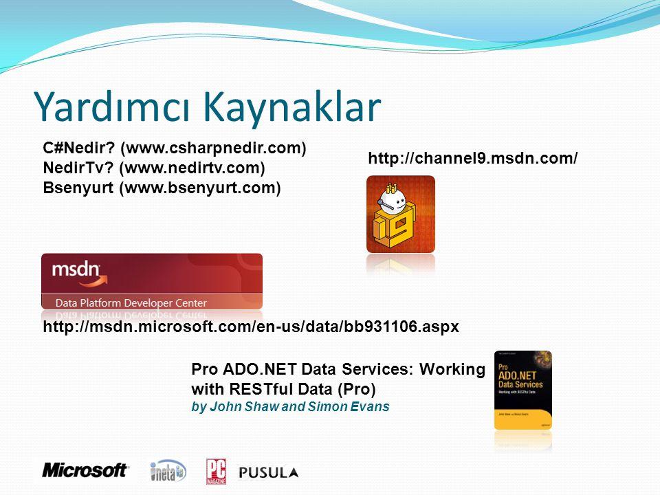 Yardımcı Kaynaklar C#Nedir? (www.csharpnedir.com) NedirTv? (www.nedirtv.com) Bsenyurt (www.bsenyurt.com) http://msdn.microsoft.com/en-us/data/bb931106
