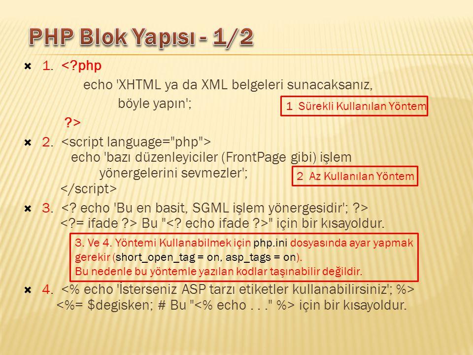  1. <?php echo 'XHTML ya da XML belgeleri sunacaksanız, böyle yapın'; ?>  2. echo 'bazı düzenleyiciler (FrontPage gibi) işlem yönergelerini sevmezle