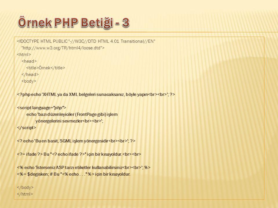 <!DOCTYPE HTML PUBLIC -//W3C//DTD HTML 4.01 Transitional//EN http://www.w3.org/TR/html4/loose.dtd > Örnek ; > echo bazı düzenleyiciler (FrontPage gibi) işlem yönergelerini sevmezler ; ; > Bu için bir kısayoldur.