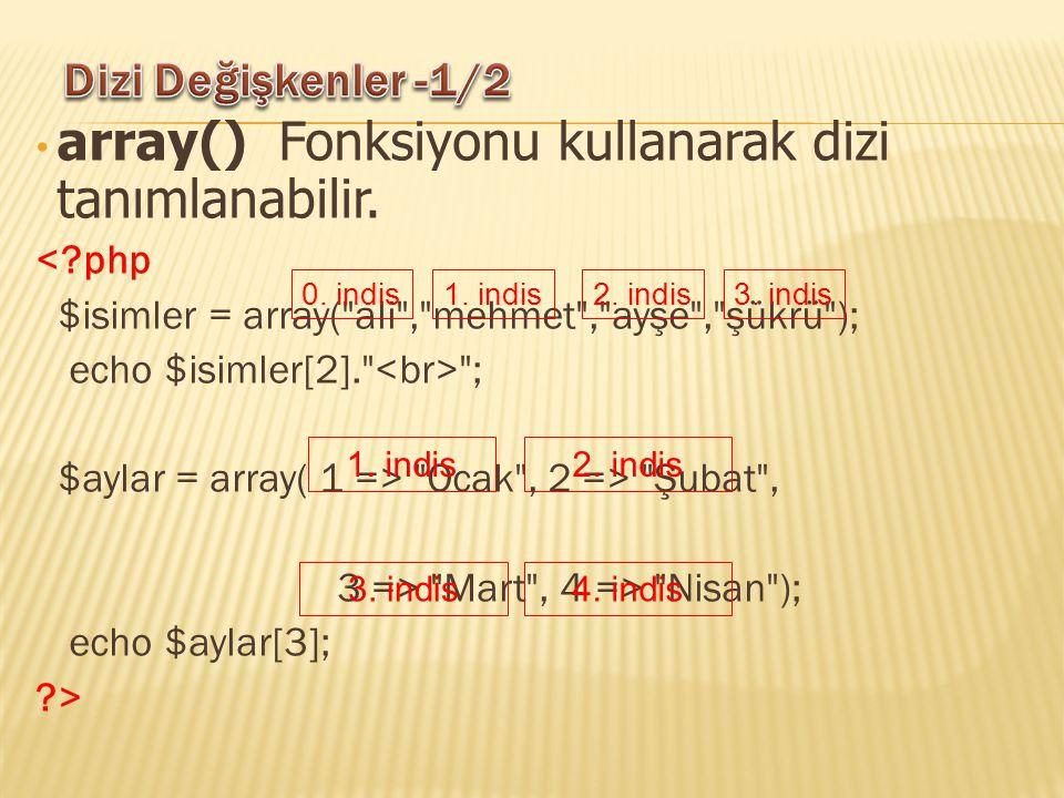 array() Fonksiyonu kullanarak dizi tanımlanabilir. <?php $isimler = array(