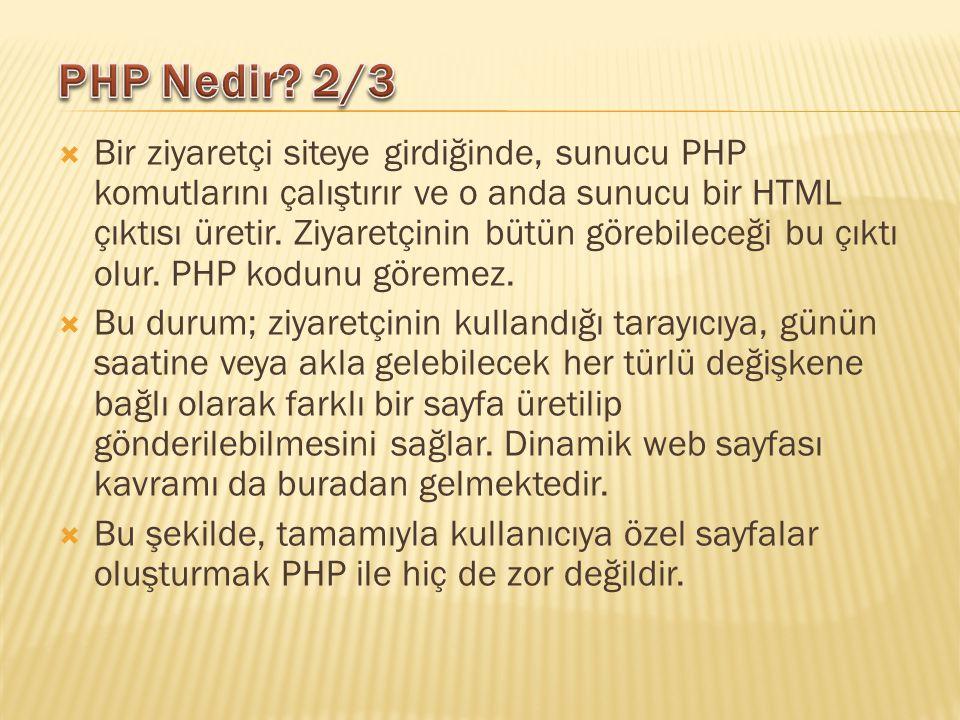  Bir ziyaretçi siteye girdiğinde, sunucu PHP komutlarını çalıştırır ve o anda sunucu bir HTML çıktısı üretir. Ziyaretçinin bütün görebileceği bu çıkt