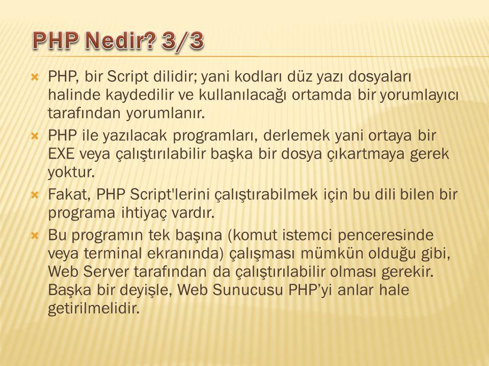  PHP, bir Script dilidir; yani kodları düz yazı dosyaları halinde kaydedilir ve kullanılacağı ortamda bir yorumlayıcı tarafından yorumlanır.  PHP il