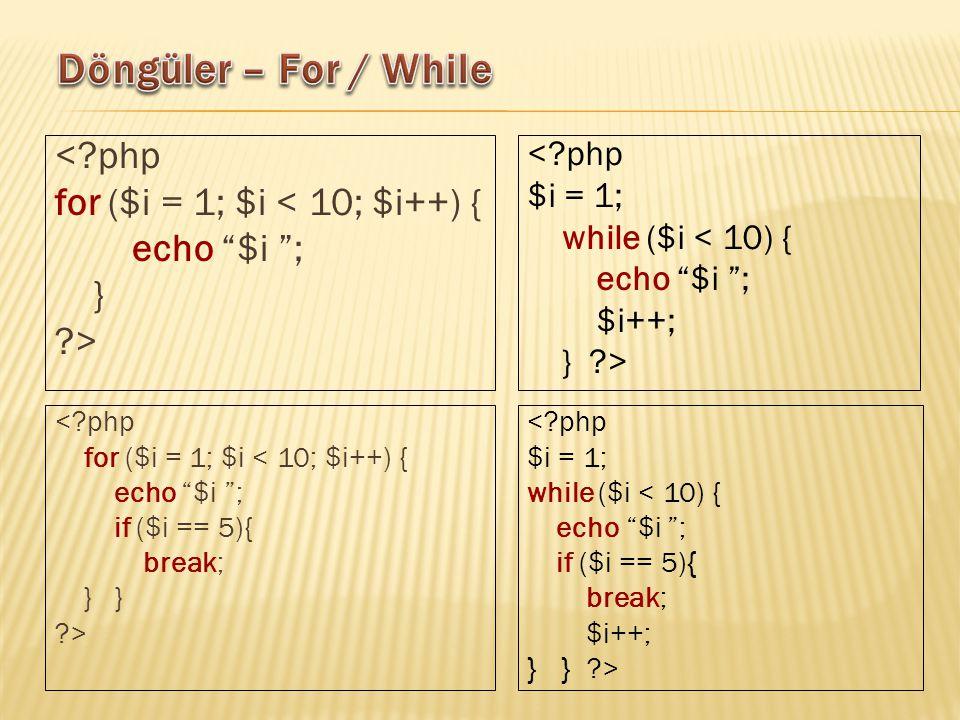 < php for ($i = 1; $i < 10; $i++) { echo $i ; } > < php for ($i = 1; $i < 10; $i++) { echo $i ; if ($i == 5){ break; } } > < php $i = 1; while ($i < 10) { echo $i ; $i++; } > < php $i = 1; while ($i < 10) { echo $i ; if ($i == 5) { break; $i++; } } >