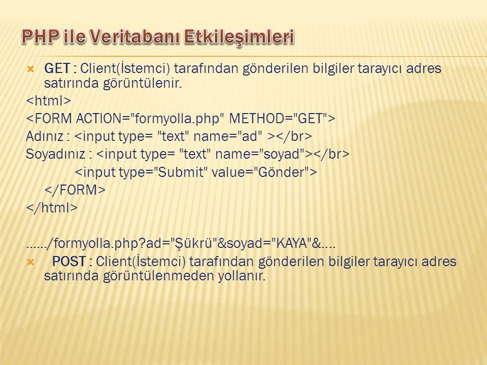  GET : Client(İstemci) tarafından gönderilen bilgiler tarayıcı adres satırında görüntülenir. Adınız : Soyadınız :....../formyolla.php?ad=