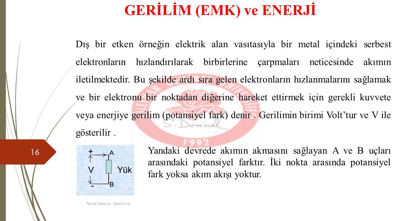 16 GERİLİM (EMK) ve ENERJİ Dış bir etken örneğin elektrik alan vasıtasıyla bir metal içindeki serbest elektronların hızlandırılarak birbirlerine çarpm