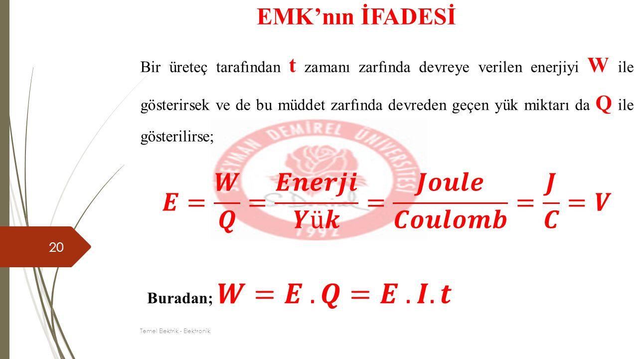 20 EMK'nın İFADESİ Bir üreteç tarafından t zamanı zarfında devreye verilen enerjiyi W ile gösterirsek ve de bu müddet zarfında devreden geçen yük mikt