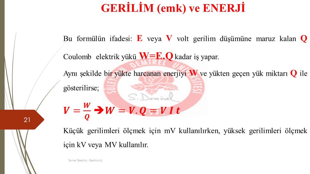 21 GERİLİM (emk) ve ENERJİ Temel Elektrik - Elektronik