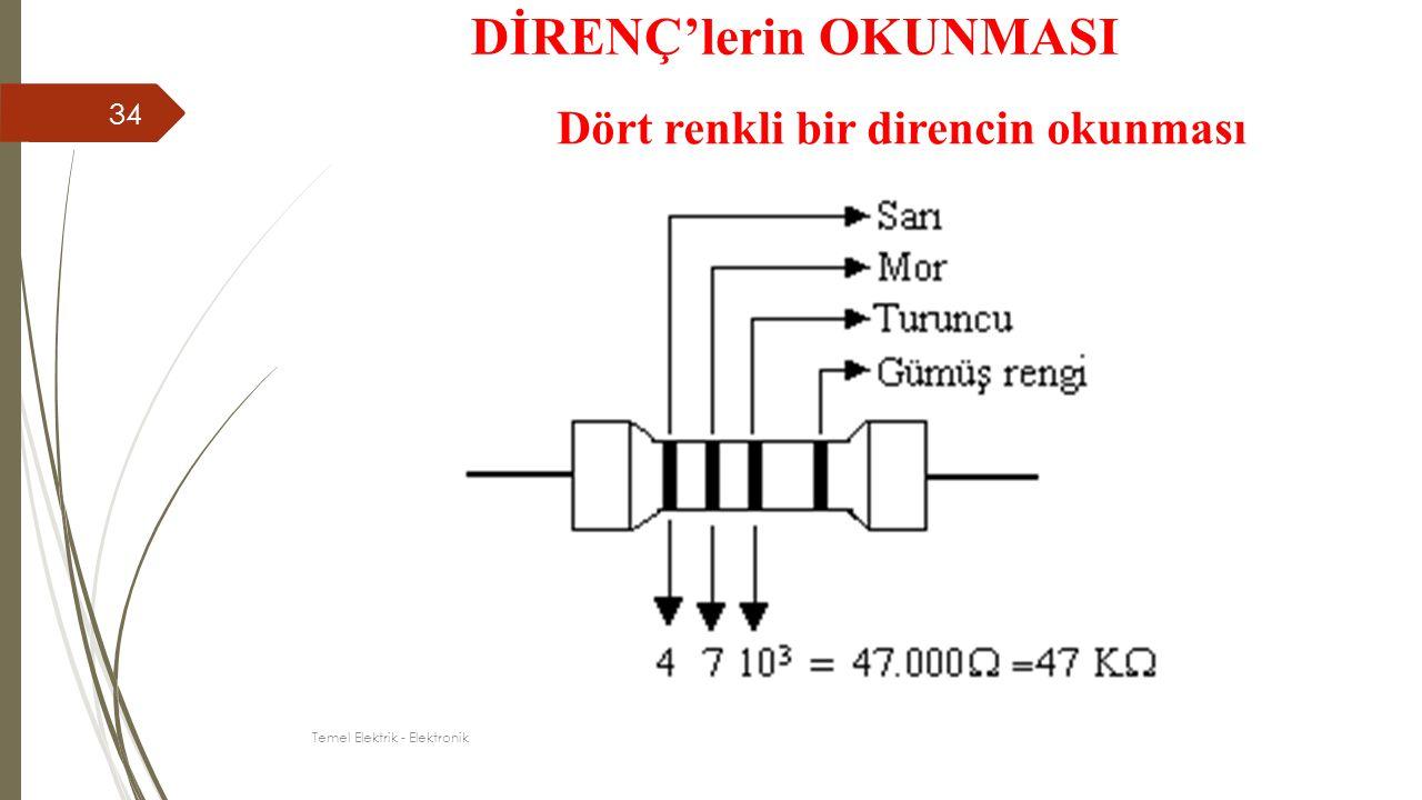 Dört renkli bir direncin okunması DİRENÇ'lerin OKUNMASI 34 Temel Elektrik - Elektronik