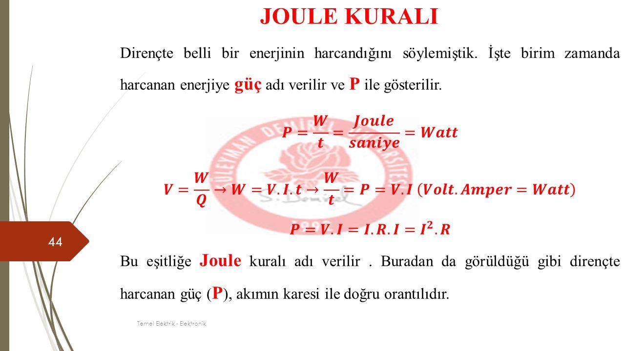 44 JOULE KURALI Temel Elektrik - Elektronik