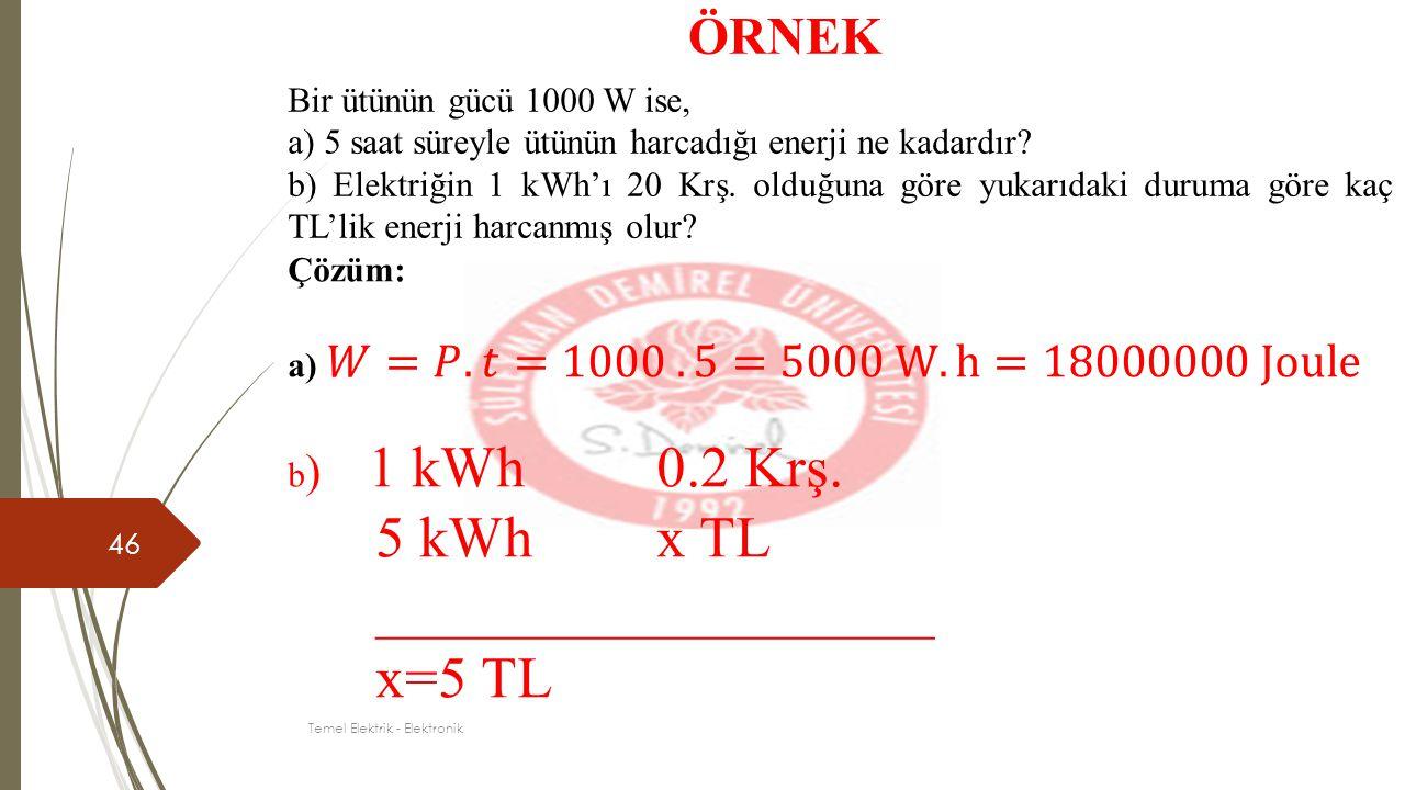 46 ÖRNEK Bir ütünün gücü 1000 W ise, a) 5 saat süreyle ütünün harcadığı enerji ne kadardır? b) Elektriğin 1 kWh'ı 20 Krş. olduğuna göre yukarıdaki dur