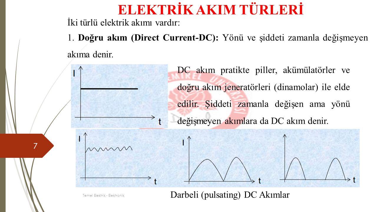 7 ELEKTRİK AKIM TÜRLERİ İki türlü elektrik akımı vardır: 1. Doğru akım (Direct Current-DC): Yönü ve şiddeti zamanla değişmeyen akıma denir. DC akım pr