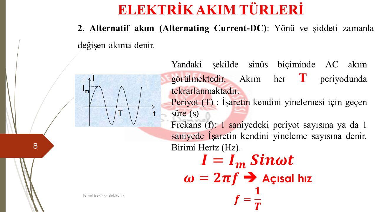8 ELEKTRİK AKIM TÜRLERİ 2. Alternatif akım (Alternating Current-DC): Yönü ve şiddeti zamanla değişen akıma denir. Yandaki şekilde sinüs biçiminde AC a