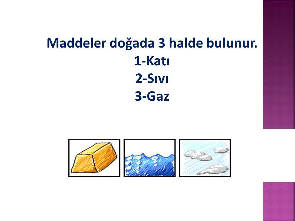 Maddeler doğada 3 halde bulunur. 1-Katı 2-Sıvı 3-Gaz