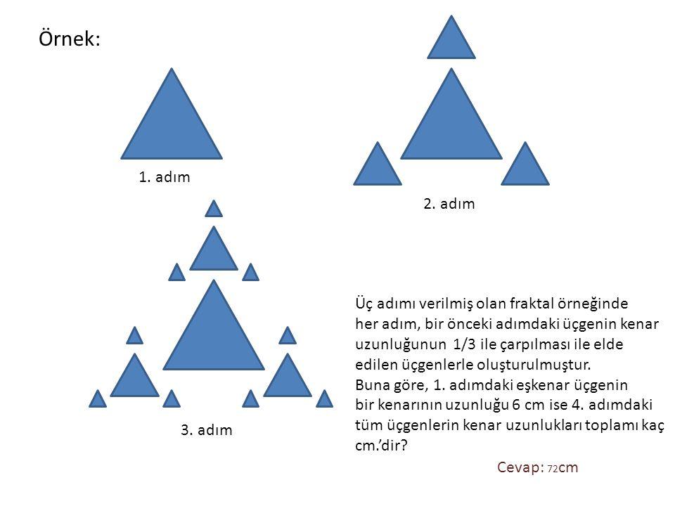 1. adım 2. adım 3. adım Üç adımı verilmiş olan fraktal örneğinde her adım, bir önceki adımdaki üçgenin kenar uzunluğunun 1/3 ile çarpılması ile elde e