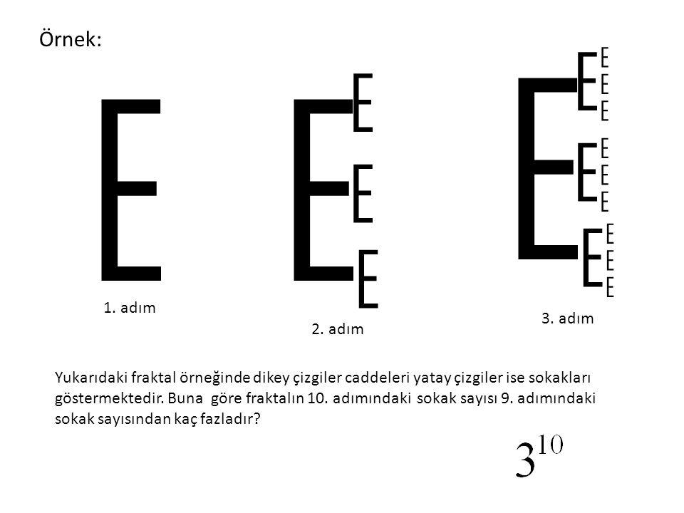 E E E E E E E E E E E E E E E E E E Yukarıdaki fraktal örneğinde dikey çizgiler caddeleri yatay çizgiler ise sokakları göstermektedir. Buna göre frakt