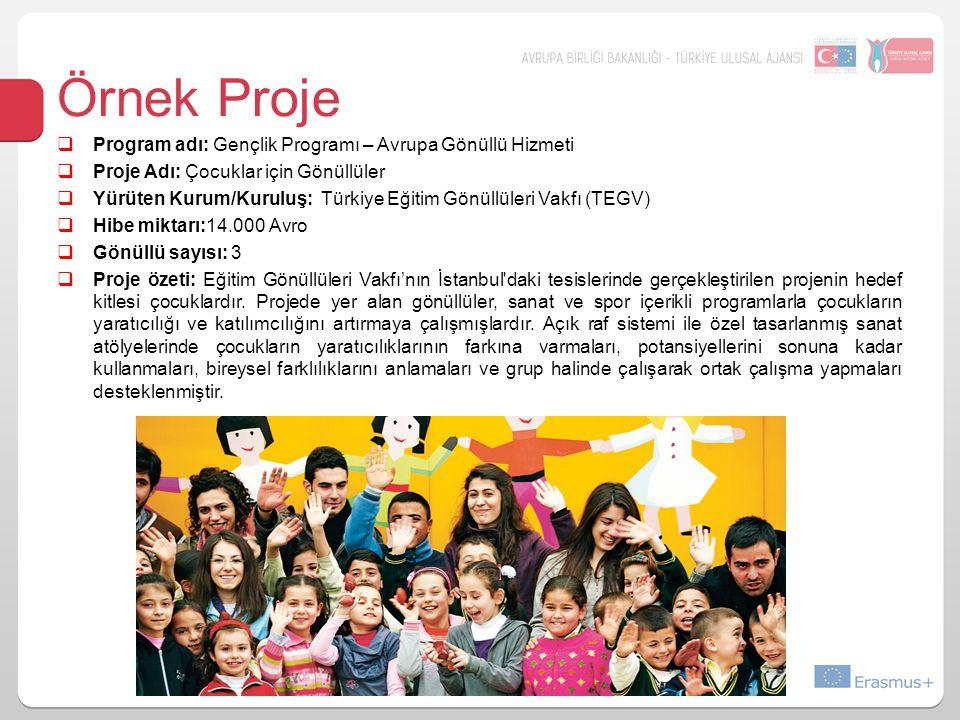  Program adı: Gençlik Programı – Avrupa Gönüllü Hizmeti  Proje Adı: Çocuklar için Gönüllüler  Yürüten Kurum/Kuruluş: Türkiye Eğitim Gönüllüleri Vakfı (TEGV)  Hibe miktarı:14.000 Avro  Gönüllü sayısı: 3  Proje özeti: Eğitim Gönüllüleri Vakfı'nın İstanbul daki tesislerinde gerçekleştirilen projenin hedef kitlesi çocuklardır.