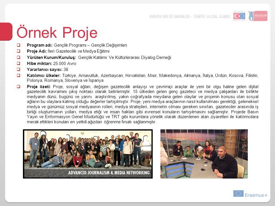 Örnek Proje  Program adı: Gençlik Programı – Gençlik Değişimleri  Proje Adı: İleri Gazetecilik ve Medya Eğitimi  Yürüten Kurum/Kuruluş: Gençlik Katılımı Ve Kültürlerarası Diyalog Derneği  Hibe miktarı: 25.000 Avro  Yararlanıcı sayısı: 38  Katılımcı ülkeler: Türkiye, Arnavutluk, Azerbaycan, Hırvatistan, Mısır, Makedonya, Almanya, İtalya, Ürdün, Kosova, Filistin, Polonya, Romanya, Slovenya ve İspanya  Proje özeti: Proje, sosyal ağları, değişen gazetecilik anlayışı ve çevrimiçi araçlar ile yeni bir olgu haline gelen dijital gazetecilik kavramını çıkış noktası olarak belirlemiştir.