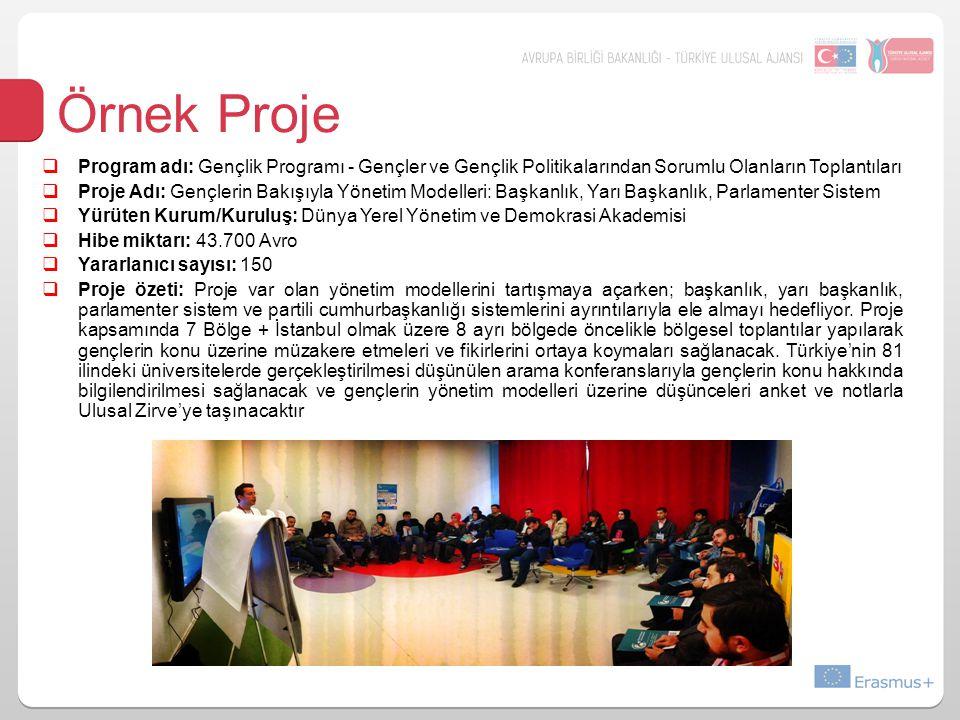 Örnek Proje  Program adı: Gençlik Programı - Gençler ve Gençlik Politikalarından Sorumlu Olanların Toplantıları  Proje Adı: Gençlerin Bakışıyla Yönetim Modelleri: Başkanlık, Yarı Başkanlık, Parlamenter Sistem  Yürüten Kurum/Kuruluş: Dünya Yerel Yönetim ve Demokrasi Akademisi  Hibe miktarı: 43.700 Avro  Yararlanıcı sayısı: 150  Proje özeti: Proje var olan yönetim modellerini tartışmaya açarken; başkanlık, yarı başkanlık, parlamenter sistem ve partili cumhurbaşkanlığı sistemlerini ayrıntılarıyla ele almayı hedefliyor.