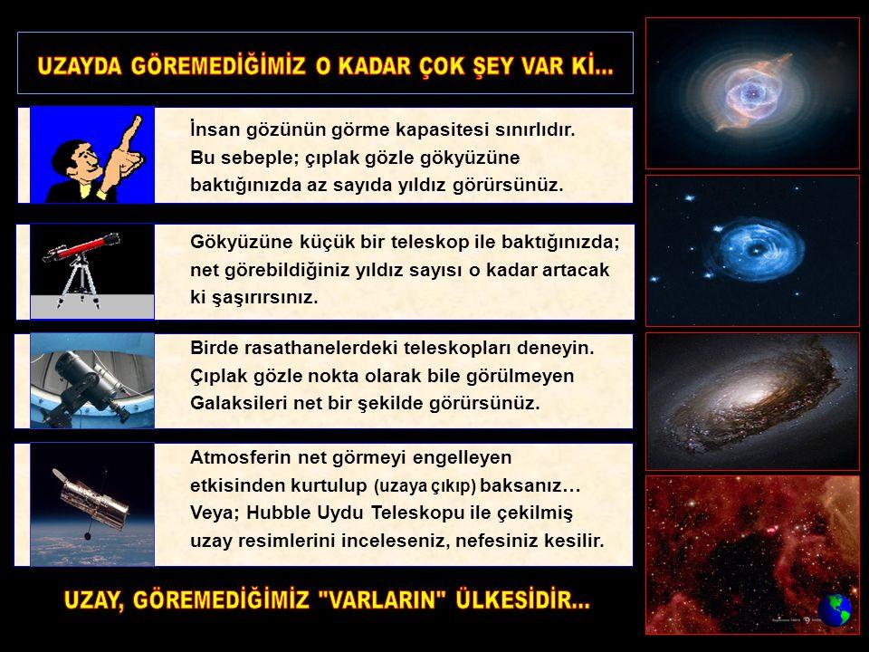 İnsan gözünün görme kapasitesi sınırlıdır. Bu sebeple; çıplak gözle gökyüzüne baktığınızda az sayıda yıldız görürsünüz. Gökyüzüne küçük bir teleskop i