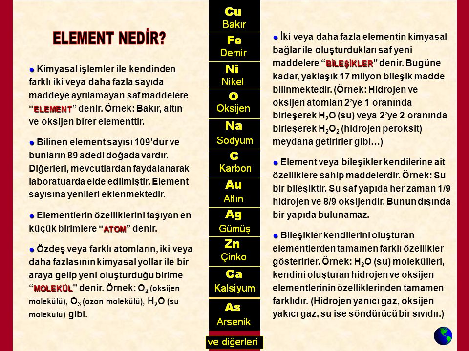 """● BİLEŞİKLER ● İki veya daha fazla elementin kimyasal bağlar ile oluşturdukları saf yeni maddelere """" BİLEŞİKLER """" denir. Bugüne kadar, yaklaşık 17 mil"""