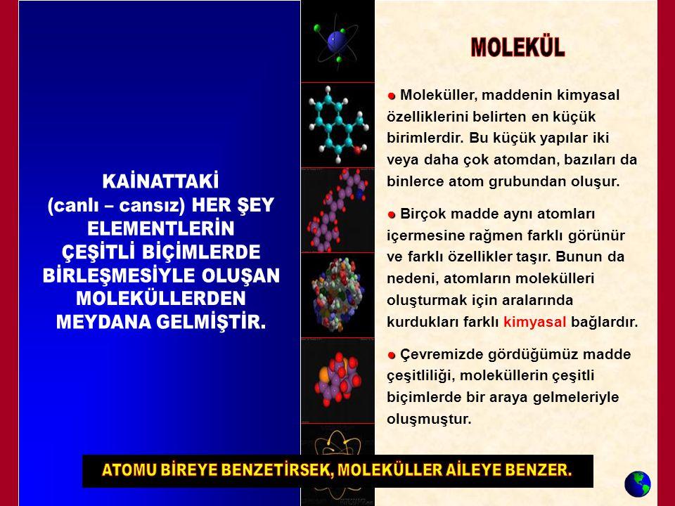 ● ● Moleküller, maddenin kimyasal özelliklerini belirten en küçük birimlerdir. Bu küçük yapılar iki veya daha çok atomdan, bazıları da binlerce atom g