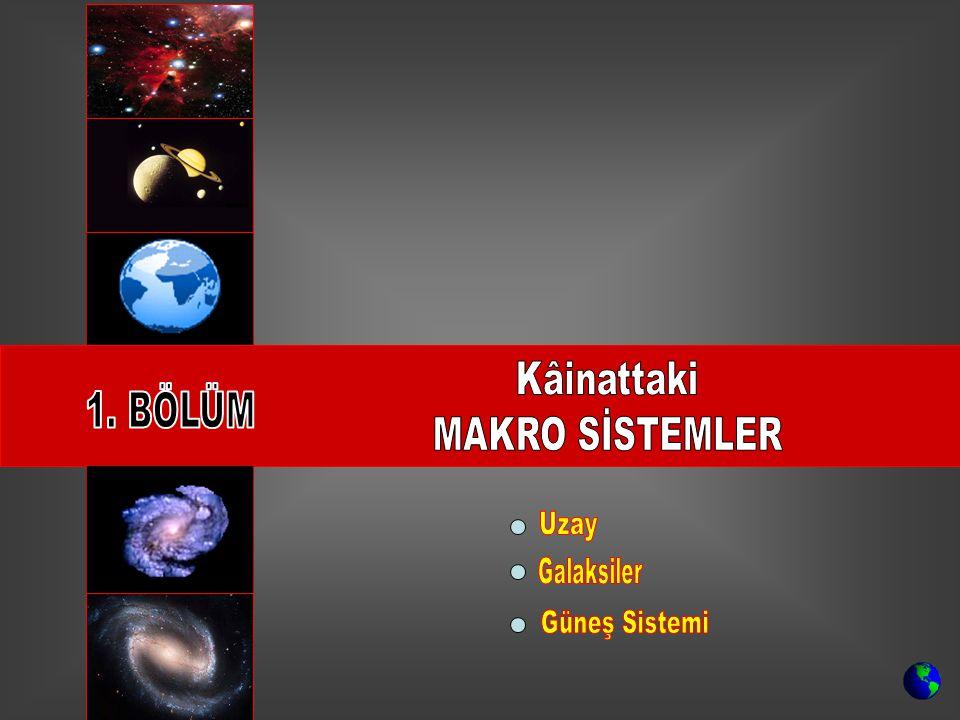 Uzay: İçinde galaksiler, nebulalar (bulutsu yapılar), kara delikler, yıldızlar, kuyruklu yıldızlar, gezegenler, uydular, astroidler, meteorlar ve bilmediğimiz nice gök cisimlerinin yer aldığı; boyutları sonsuz kabul edilen yapı…