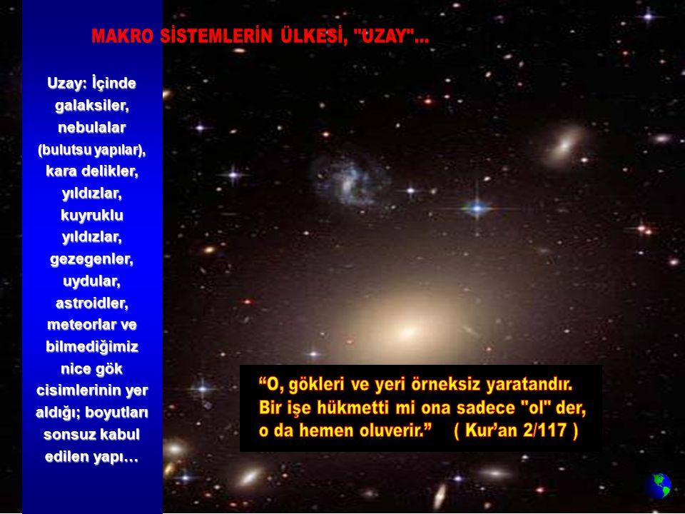Uzay: İçinde galaksiler, nebulalar (bulutsu yapılar), kara delikler, yıldızlar, kuyruklu yıldızlar, gezegenler, uydular, astroidler, meteorlar ve bilm
