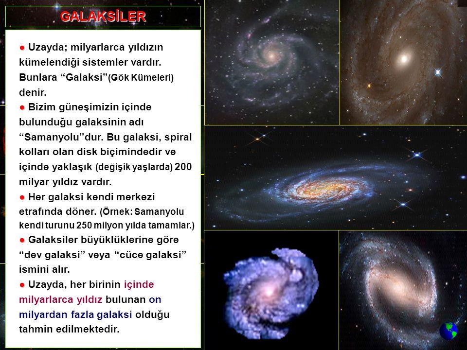 """● ● Uzayda; milyarlarca yıldızın kümelendiği sistemler vardır. Bunlara """"Galaksi"""" (Gök Kümeleri) denir. ● ● Bizim güneşimizin içinde bulunduğu galaksin"""