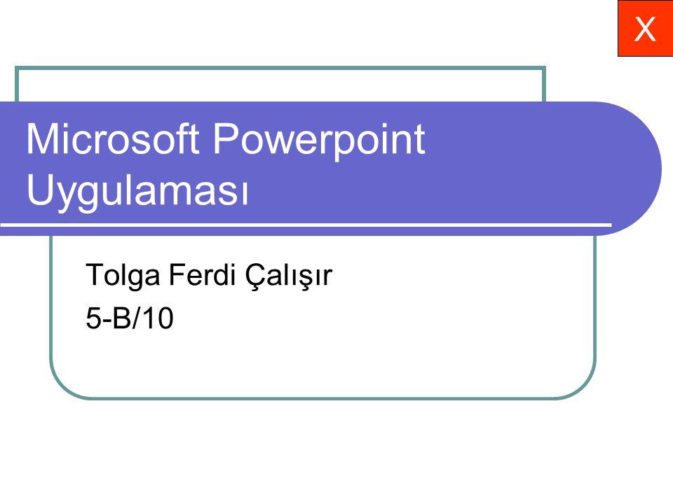 Microsoft Powerpoint Uygulaması Tolga Ferdi Çalışır 5-B/10 X