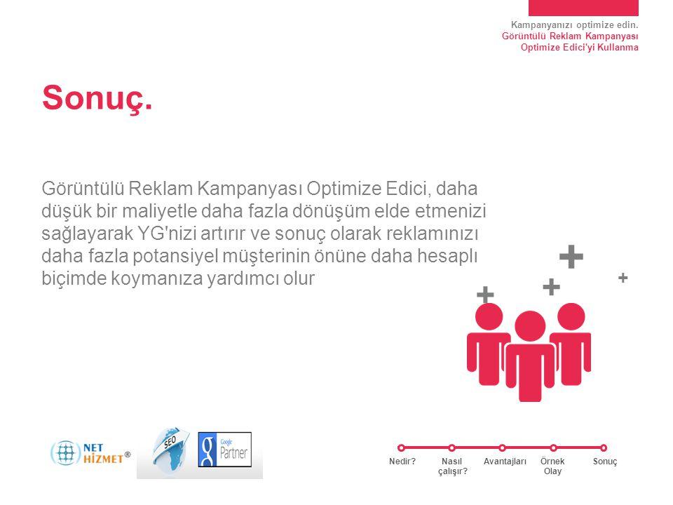 Kampanyanızı optimize edin. Görüntülü Reklam Kampanyası Optimize Edici'yi Kullanma Sonuç. Görüntülü Reklam Kampanyası Optimize Edici, daha düşük bir m