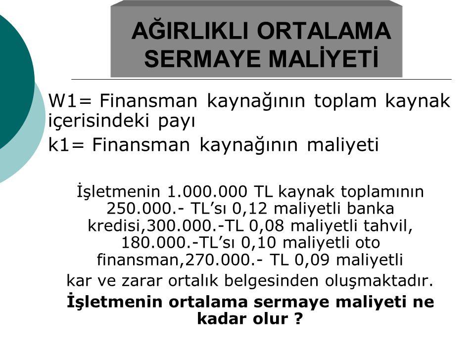 AĞIRLIKLI ORTALAMA SERMAYE MALİYETİ W1= Finansman kaynağının toplam kaynak içerisindeki payı k1= Finansman kaynağının maliyeti İşletmenin 1.000.000 TL