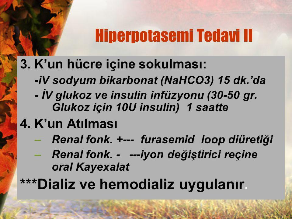 3. K'un hücre içine sokulması: -iV sodyum bikarbonat (NaHCO3) 15 dk.'da - İV glukoz ve insulin infüzyonu (30-50 gr. Glukoz için 10U insulin) 1 saatte