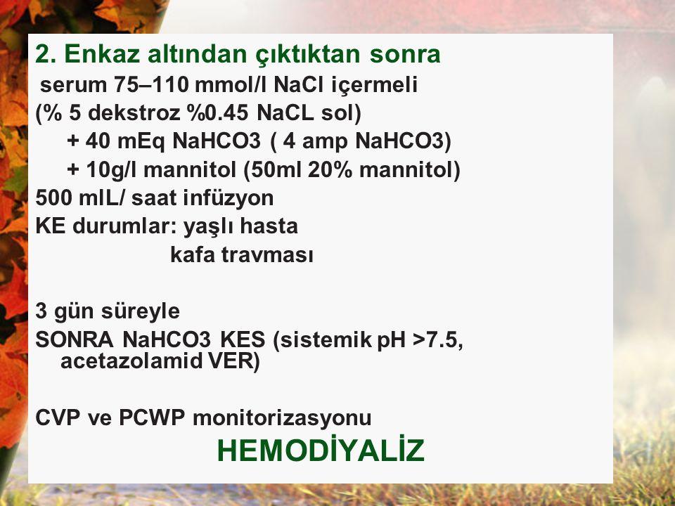 2. Enkaz altından çıktıktan sonra serum 75–110 mmol/l NaCl içermeli (% 5 dekstroz %0.45 NaCL sol) + 40 mEq NaHCO3 ( 4 amp NaHCO3) + 10g/l mannitol (50