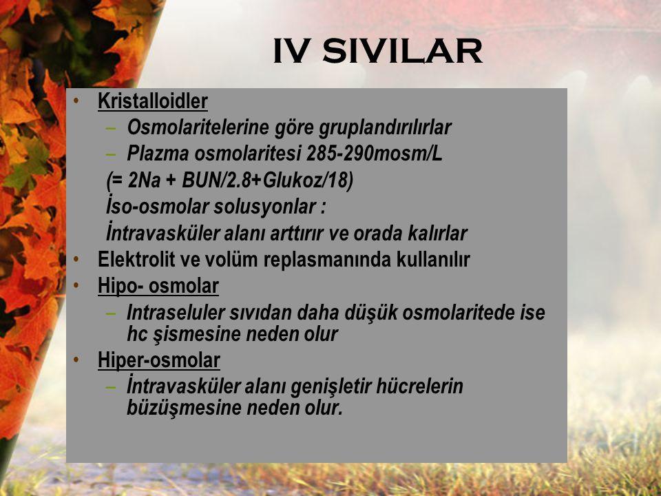 IV SIVILAR Kristalloidler – Osmolaritelerine göre gruplandırılırlar – Plazma osmolaritesi 285-290mosm/L (= 2Na + BUN/2.8+Glukoz/18) İso-osmolar solusy