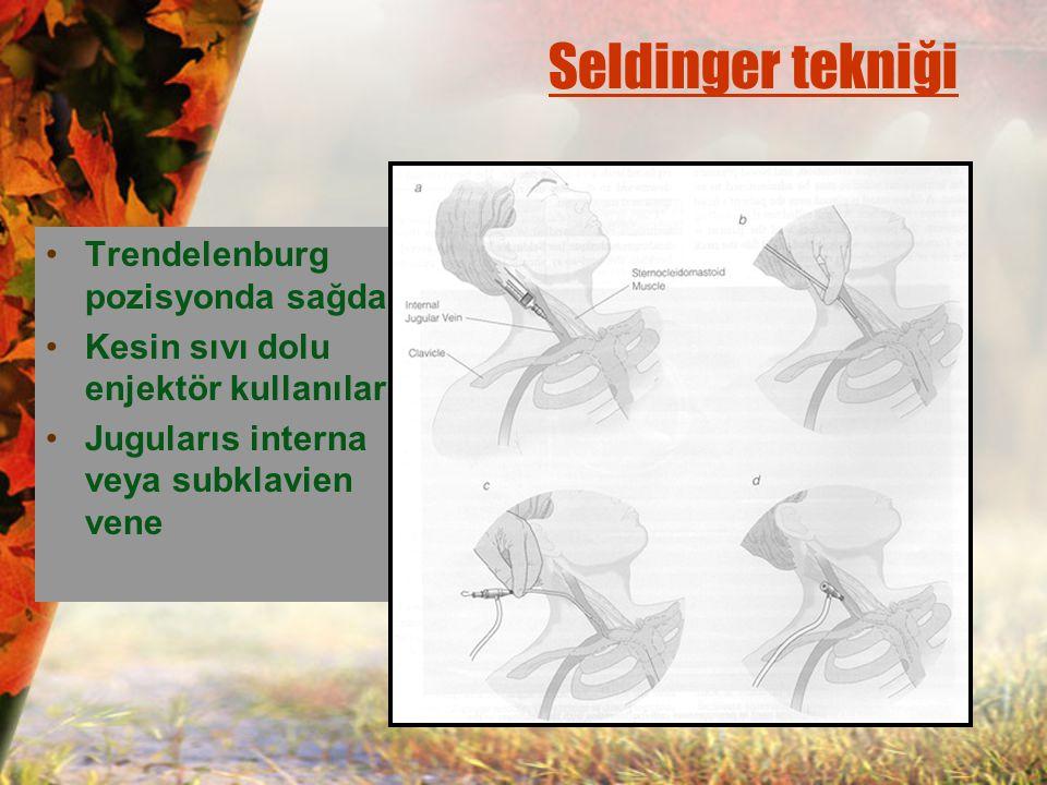 Seldinger tekniği Trendelenburg pozisyonda sağdan Kesin sıvı dolu enjektör kullanılarak Jugularıs interna veya subklavien vene