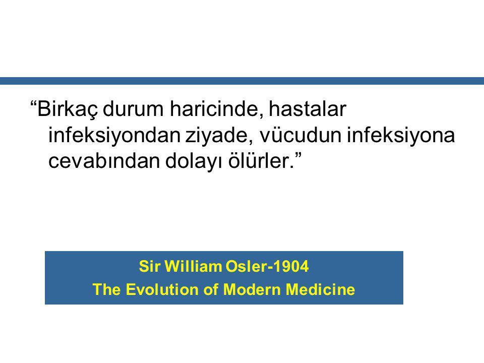 """""""Birkaç durum haricinde, hastalar infeksiyondan ziyade, vücudun infeksiyona cevabından dolayı ölürler."""" Sir William Osler-1904 The Evolution of Modern"""