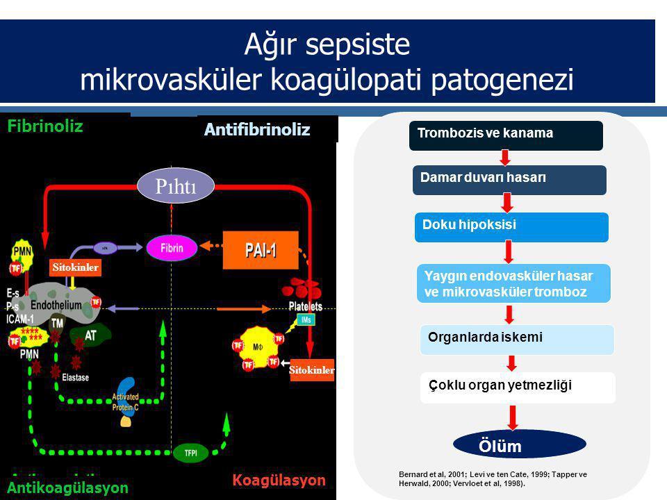 Ağır sepsiste mikrovasküler koagülopati patogenezi Fibrinoliz Antifibrinoliz Pıhtı Sitokinler Antikoagülasyon Koagülasyon Trombozis ve kanama Damar duvarı hasarı Doku hipoksisi Yaygın endovasküler hasar ve mikrovasküler tromboz Organlarda iskemi Çoklu organ yetmezliği Ölüm Bernard et al, 2001; Levi ve ten Cate, 1999; Tapper ve Herwald, 2000; Vervloet et al, 1998).
