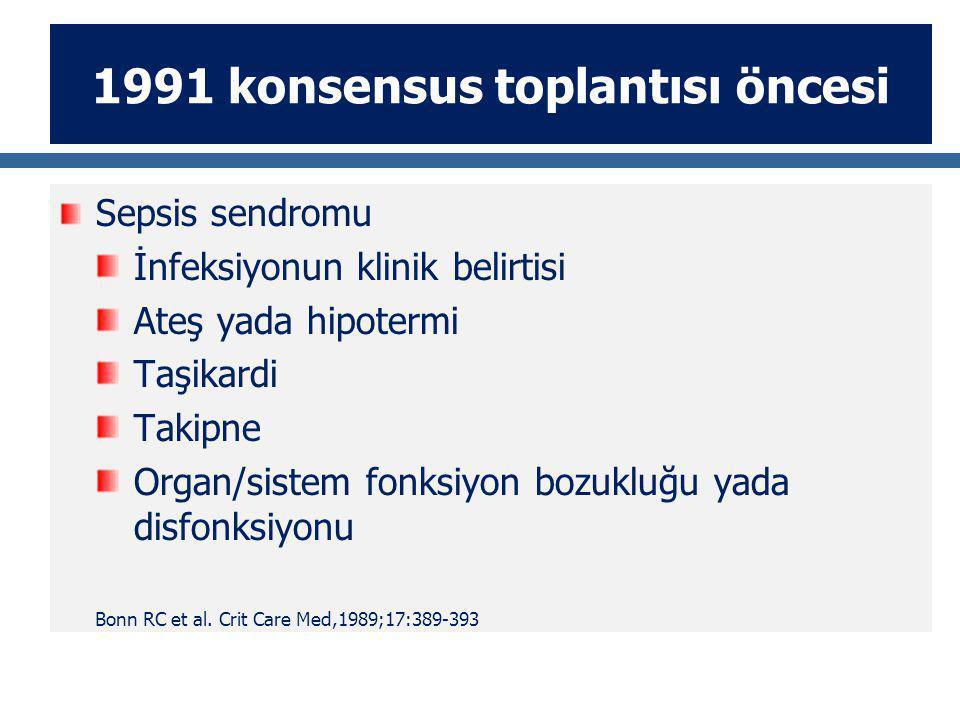 1991 konsensus toplantısı öncesi Sepsis sendromu İnfeksiyonun klinik belirtisi Ateş yada hipotermi Taşikardi Takipne Organ/sistem fonksiyon bozukluğu