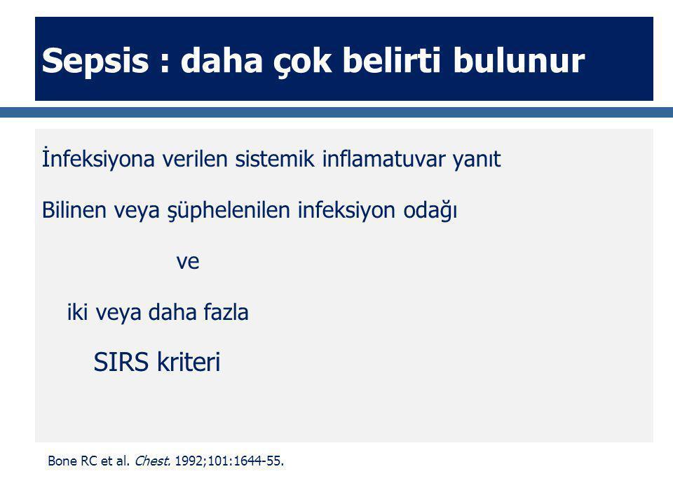 Sepsis : daha çok belirti bulunur İnfeksiyona verilen sistemik inflamatuvar yanıt Bilinen veya şüphelenilen infeksiyon odağı ve iki veya daha fazla SI