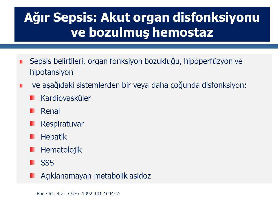 Ağır Sepsis: Akut organ disfonksiyonu ve bozulmuş hemostaz Sepsis belirtileri, organ fonksiyon bozukluğu, hipoperfüzyon ve hipotansiyon ve aşağıdaki s