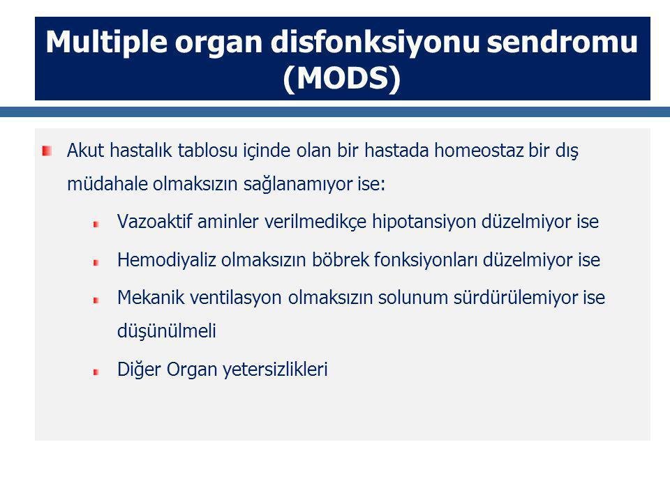 Multiple organ disfonksiyonu sendromu (MODS) Akut hastalık tablosu içinde olan bir hastada homeostaz bir dış müdahale olmaksızın sağlanamıyor ise: Vazoaktif aminler verilmedikçe hipotansiyon düzelmiyor ise Hemodiyaliz olmaksızın böbrek fonksiyonları düzelmiyor ise Mekanik ventilasyon olmaksızın solunum sürdürülemiyor ise düşünülmeli Diğer Organ yetersizlikleri