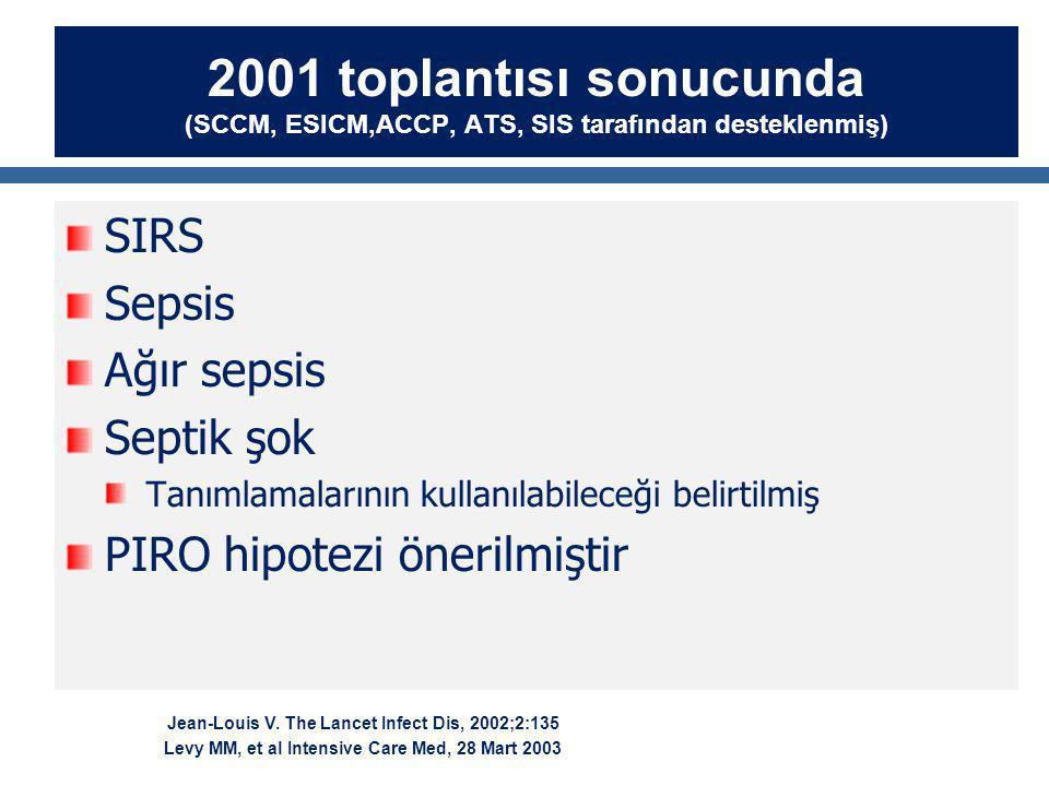2001 toplantısı sonucunda (SCCM, ESICM,ACCP, ATS, SIS tarafından desteklenmiş) SIRS Sepsis Ağır sepsis Septik şok Tanımlamalarının kullanılabileceği belirtilmiş PIRO hipotezi önerilmiştir Jean-Louis V.