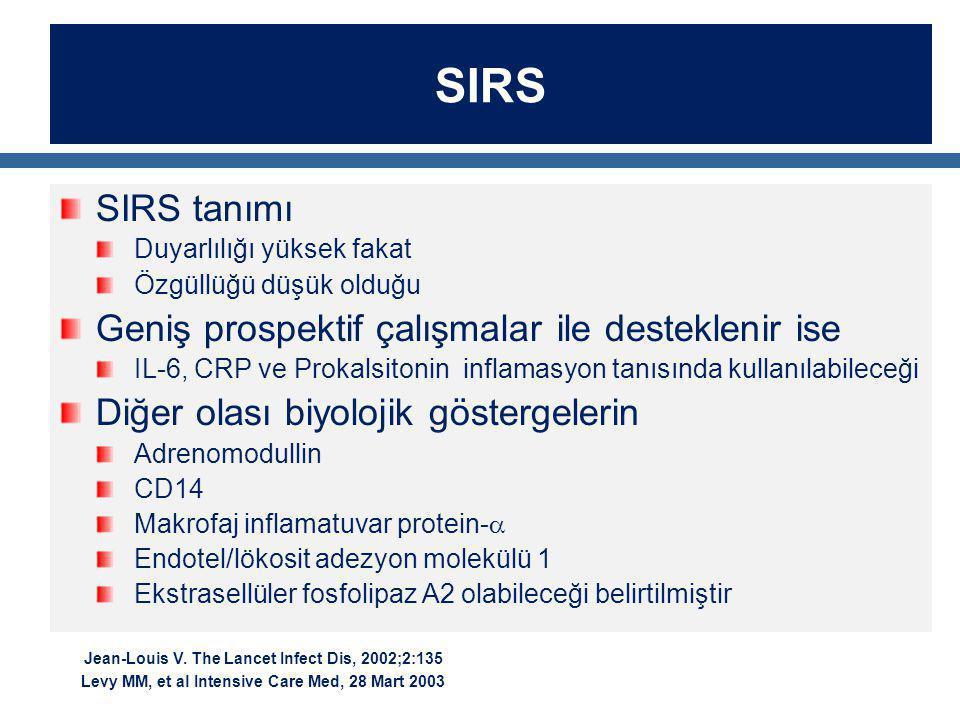 SIRS SIRS tanımı Duyarlılığı yüksek fakat Özgüllüğü düşük olduğu Geniş prospektif çalışmalar ile desteklenir ise IL-6, CRP ve Prokalsitonin inflamasyo