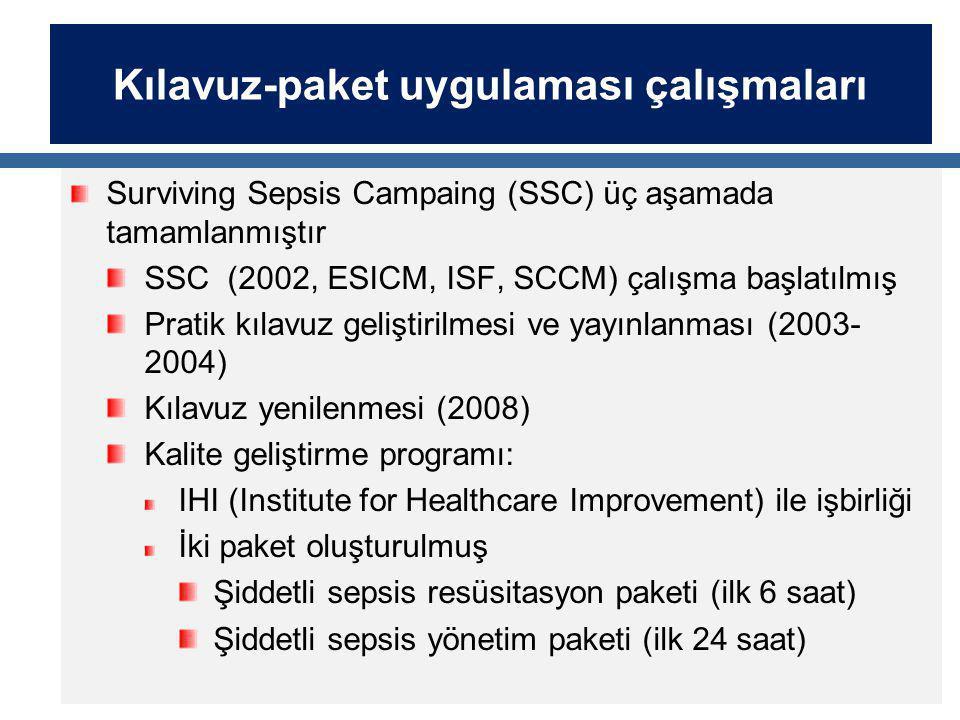 Kılavuz-paket uygulaması çalışmaları Surviving Sepsis Campaing (SSC) üç aşamada tamamlanmıştır SSC (2002, ESICM, ISF, SCCM) çalışma başlatılmış Pratik kılavuz geliştirilmesi ve yayınlanması (2003- 2004) Kılavuz yenilenmesi (2008) Kalite geliştirme programı: IHI (Institute for Healthcare Improvement) ile işbirliği İki paket oluşturulmuş Şiddetli sepsis resüsitasyon paketi (ilk 6 saat) Şiddetli sepsis yönetim paketi (ilk 24 saat)