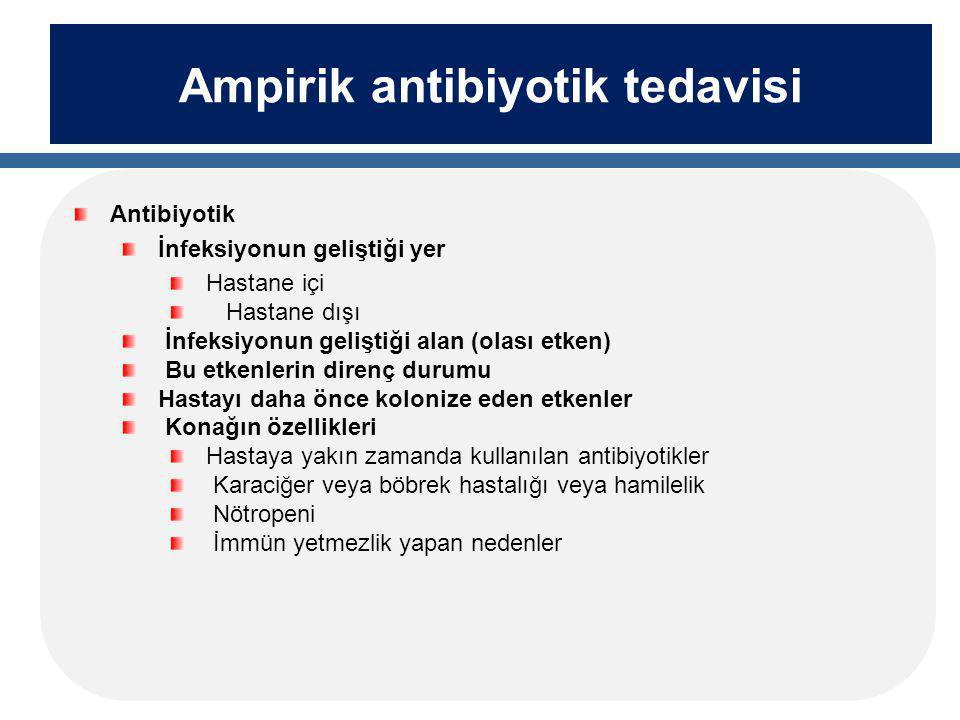 Ampirik antibiyotik tedavisi Antibiyotik İnfeksiyonun geliştiği yer Hastane içi Hastane dışı İnfeksiyonun geliştiği alan (olası etken) Bu etkenlerin direnç durumu Hastayı daha önce kolonize eden etkenler Konağın özellikleri Hastaya yakın zamanda kullanılan antibiyotikler Karaciğer veya böbrek hastalığı veya hamilelik Nötropeni İmmün yetmezlik yapan nedenler