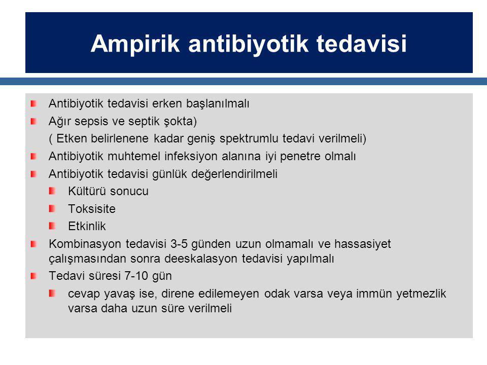 Ampirik antibiyotik tedavisi Antibiyotik tedavisi erken başlanılmalı Ağır sepsis ve septik şokta) ( Etken belirlenene kadar geniş spektrumlu tedavi verilmeli) Antibiyotik muhtemel infeksiyon alanına iyi penetre olmalı Antibiyotik tedavisi günlük değerlendirilmeli Kültürü sonucu Toksisite Etkinlik Kombinasyon tedavisi 3-5 günden uzun olmamalı ve hassasiyet çalışmasından sonra deeskalasyon tedavisi yapılmalı Tedavi süresi 7-10 gün cevap yavaş ise, direne edilemeyen odak varsa veya immün yetmezlik varsa daha uzun süre verilmeli