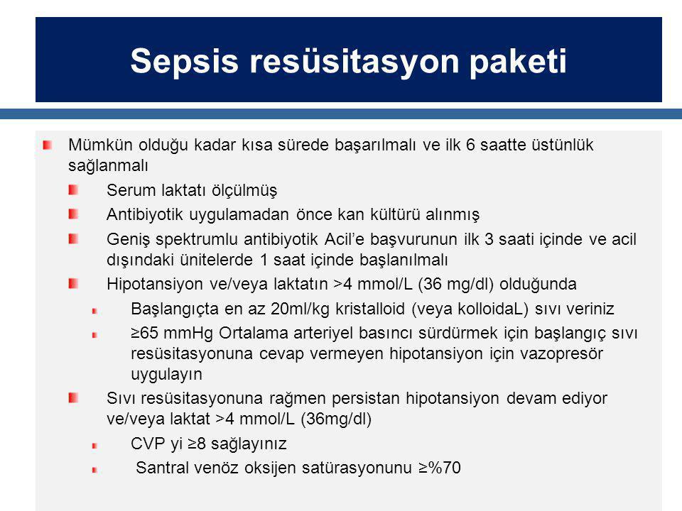 Sepsis resüsitasyon paketi Mümkün olduğu kadar kısa sürede başarılmalı ve ilk 6 saatte üstünlük sağlanmalı Serum laktatı ölçülmüş Antibiyotik uygulama
